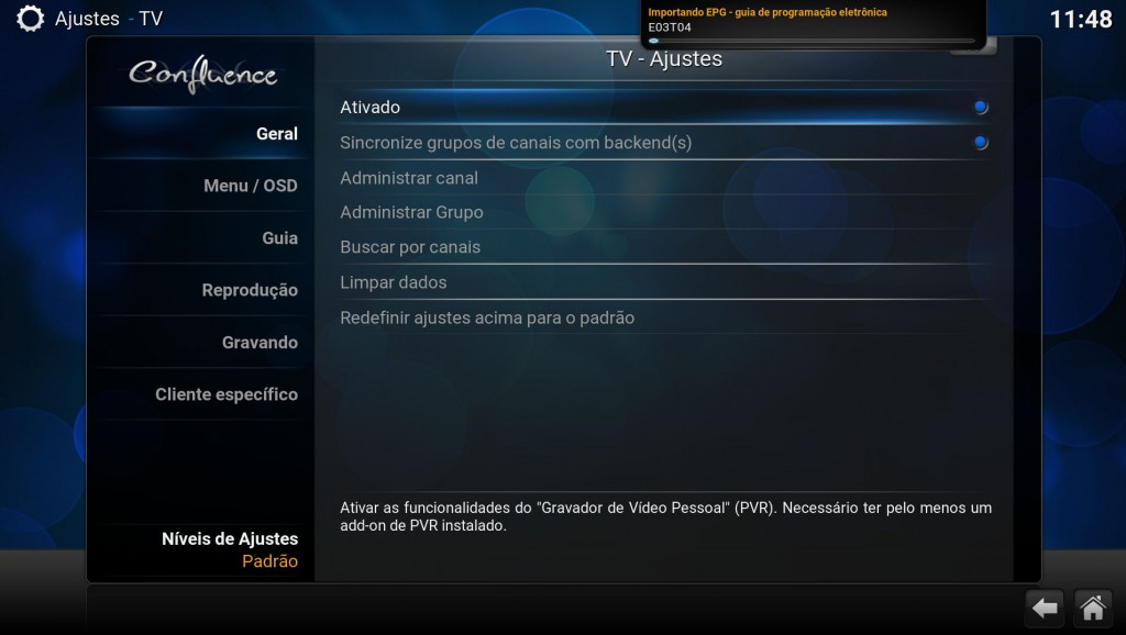 Kodi TV enable